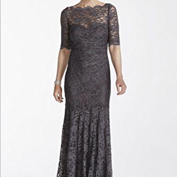 ffe889475147 Charcoal gray Nightway glitter lace mermaid gown. M_5ac8a9edc9fcdf570370dfee